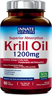 Krill Oil with Omega3s Phospholipids and Astaxanthin 1200mg per Serving, 60 Softgels, Superior Absorption, Non-GMO, Gluten Dairy & Soy Free, Supports Joint, Brain and Cardiovascular Health Made in USA