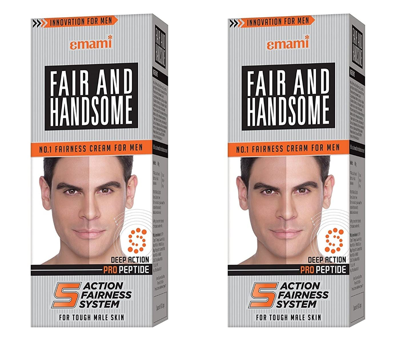 比喩実験的支払いFair and Handsome Fairness Cream for Men, 60gm (Pack of 2)