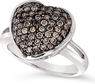 .925 Sterling Silver Chocolate Brown Diamond Heart Shaped Dome Ring For Women .63 Carats