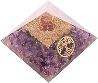 Aatm Energy Generator Amethyst Orgone Pyramid for EMF Protection Chakra Healing Meditation with Crystal, Copper and Life o...