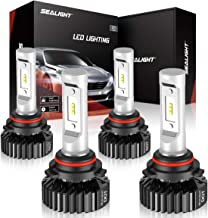 SEALIGHT 9005/HB3 High Beam 9006/HB4 Low Beam LED Headlight Bulbs Combo Package CSP Chips 13000LM 6000K Ice White Brightness