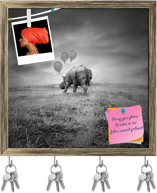 Artzfolio Artistic Rhino Back with Three Balloons Key Holder Hooks   Notice Pin Board   Antique golden Frame 16.1 X 16Inch
