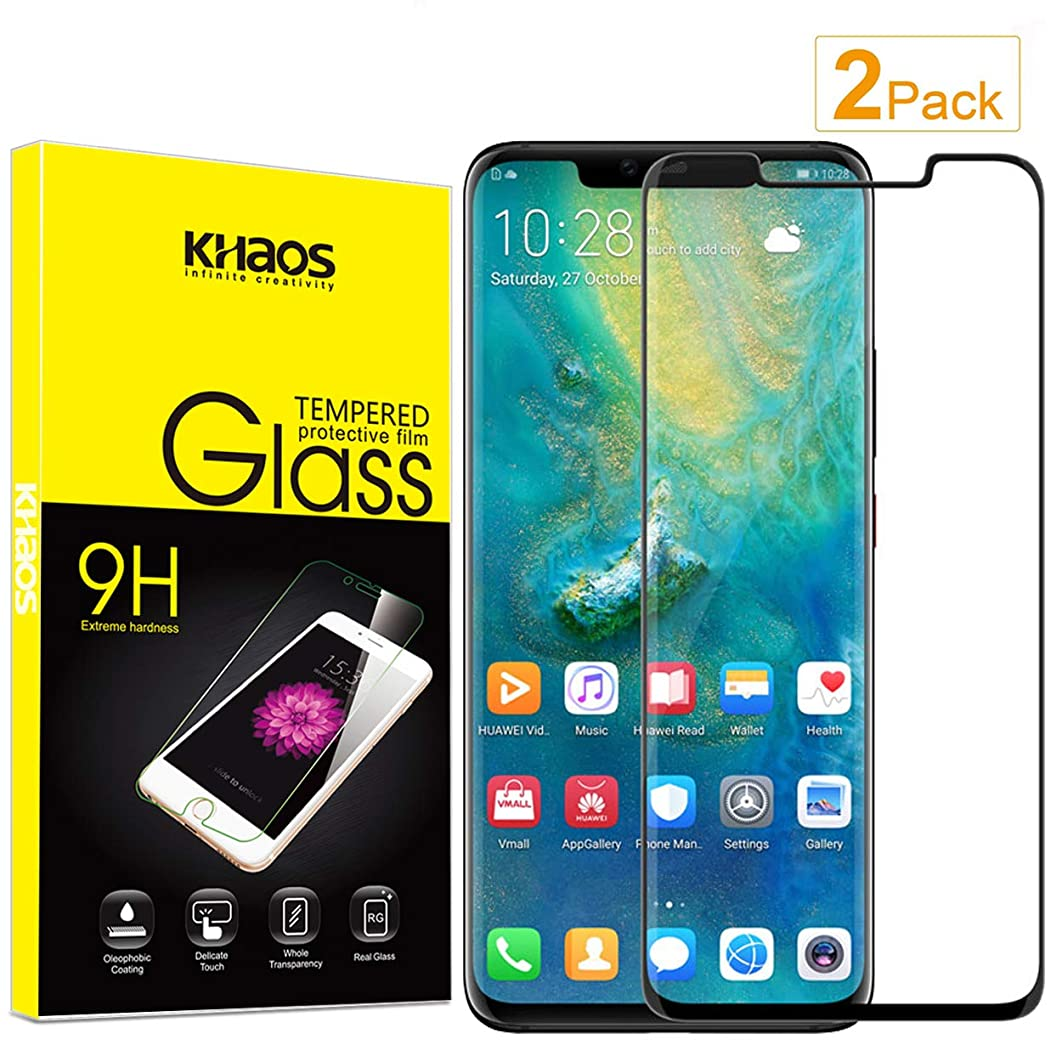 [2-Pack] Screen Protector for Huawei Mate 20 Pro, 3D Full Cover KHAOS Tempered Glass Screen Protector for Huawei Mate20 pro Ultra Clear Scratch Resistant -Black