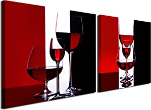 Gardenia Art - Wine Canvas Paintings Wall Art Pictures Abstract Wine Glass in Red Black White for Kitchen Bedroom Living Rommg Decoration, 16x16 inch per Piece, 2 Pieces per Set