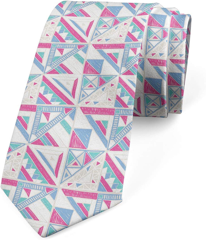Lunarable Men's Tie, Triangles Squares, Necktie, 3.7
