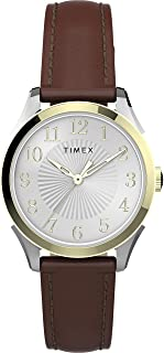 Timex Womens Quartz Watch, Analog Display And Leather Strap - TW2T66700