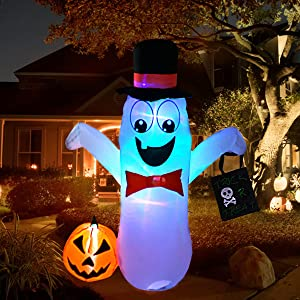 5FT Inflatable Halloween Ghost Decorations, Cute Garden Ghost with Pumpkins Design, Colorful LED Light and Self-Inflating Blow Up with Fan for Outdoor Halloween Yard Prop Decor
