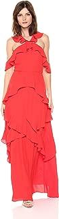 BCBGMax Azria Women's Audrianna Woven Ruffled Cold Shoulder Halter Dress