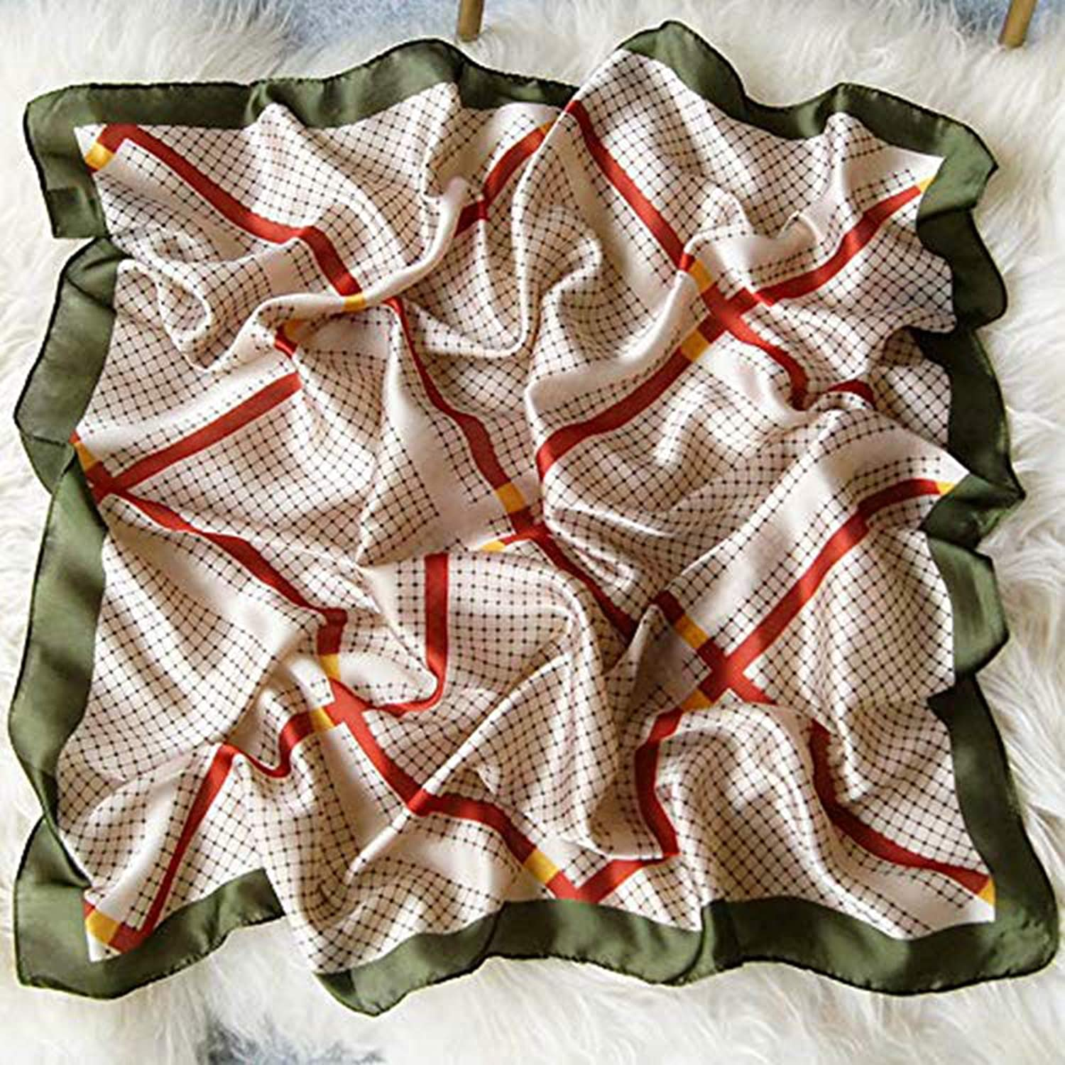 Scarf Women'S Small Square Scarf, Wild New Spring Scarf, Simulation Silk Scarf Chess Board Green