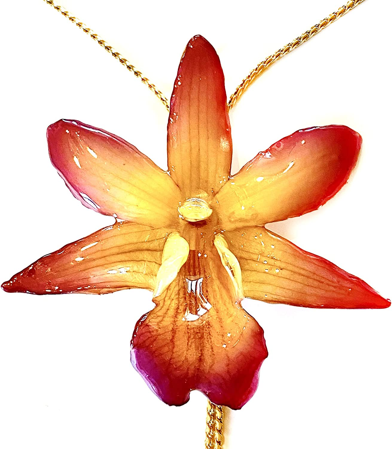 Sunne Tropical Dendrobium Formosum Orchid Jewelry - Real Flower Pendant Necklaces 18 Inch - Flowers Preserved Resin Jewlery - Teen Girl Women Gold Plated 24K Chain