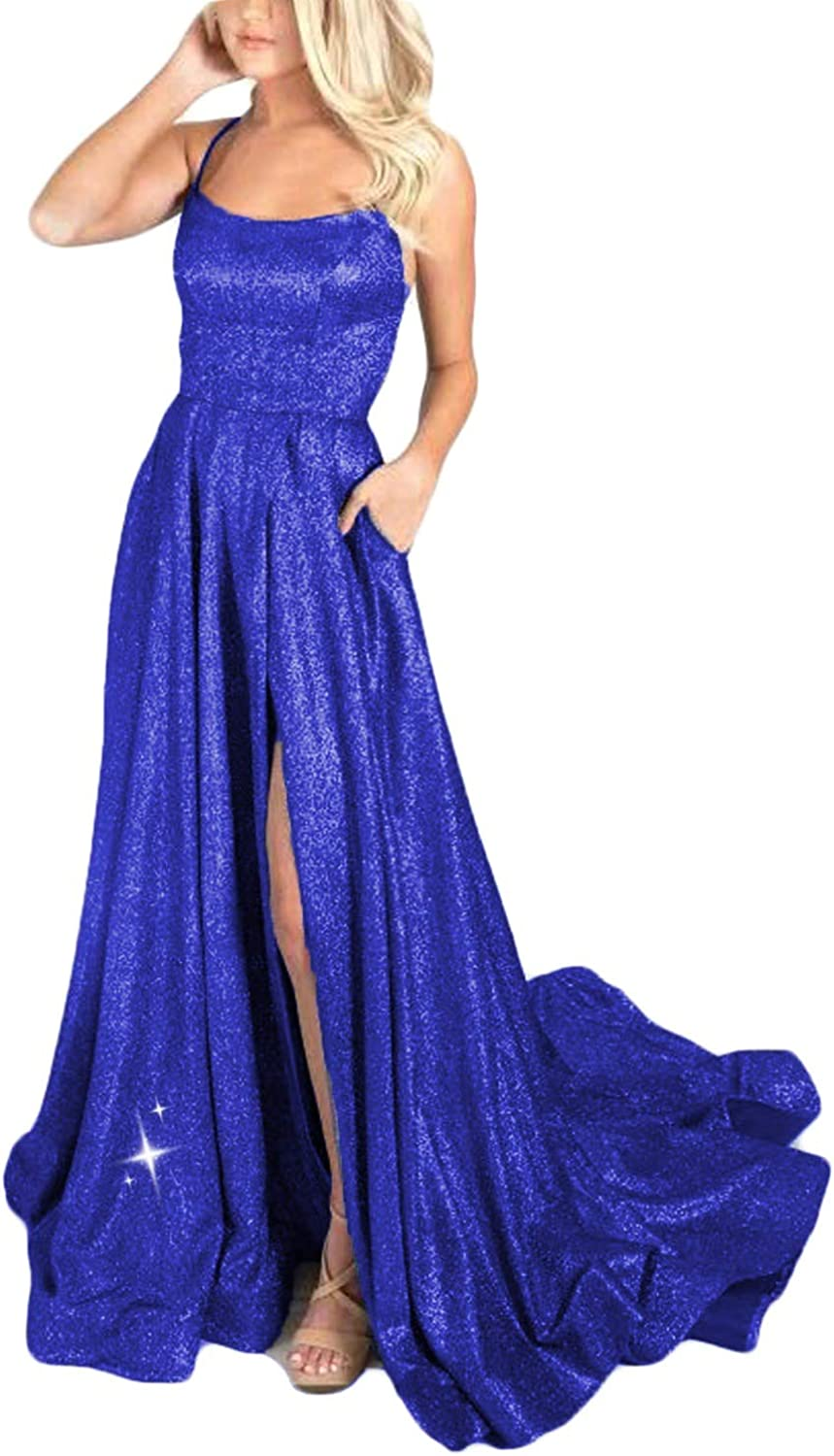 Shindress Women Tulsa Mall Glitter Prom Dresses Pockets with Long 2020 67% OFF of fixed price Side