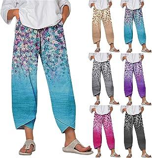 ZiSUGP Yoga Pants, Women Lady Casual Flowers Print Elastic Waist Wide Leg Pants Trousers Long Pants