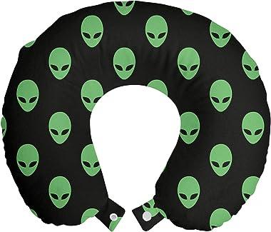 Ambesonne Alien Travel Pillow Neck Rest, Supernatural Martiansal Beings from Other Planets Head of an Alien, Memory Foam Trav