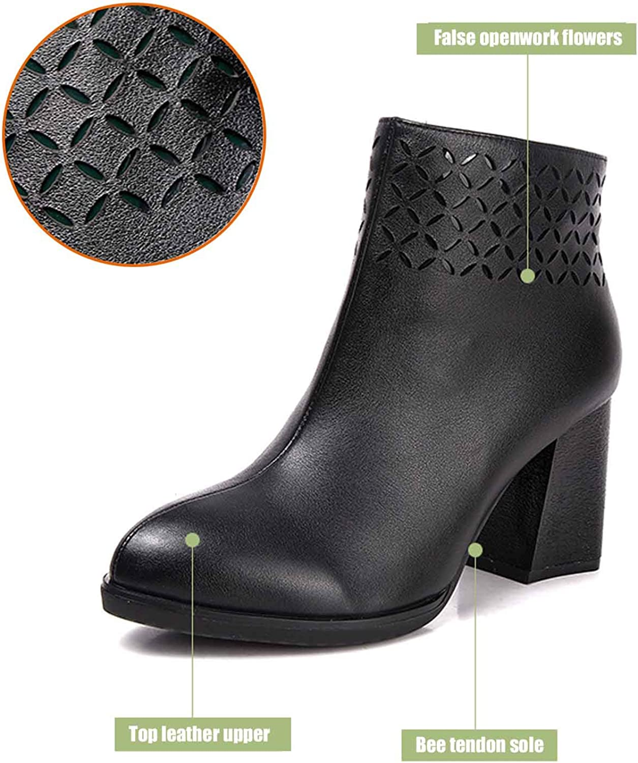 Women's Block Thick high Heels Chelsea Ankle Boots Clip Soles Office shoes