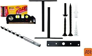 A & R Free Floating Shelf Bracket Kit - 6 inch Heavy-Duty Powder Coated Steel Brackets Set For Hidden Shelves, Laser Spirit Level Tool Class 3R Max Output less than 5mw Drill Bit, Hardware, Manual (2)