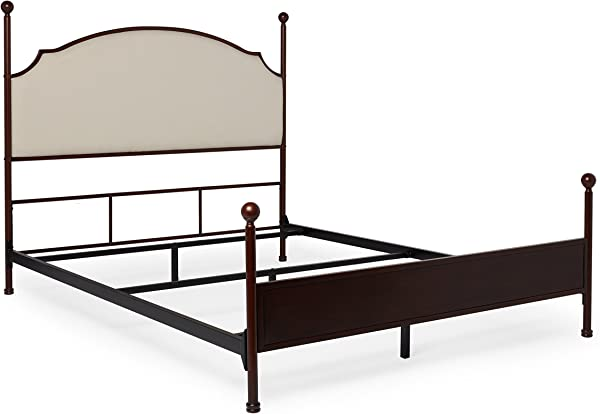 Inspire Q Andover Cream Curved Top Crry Brown Metal Poster Bed By Classic King