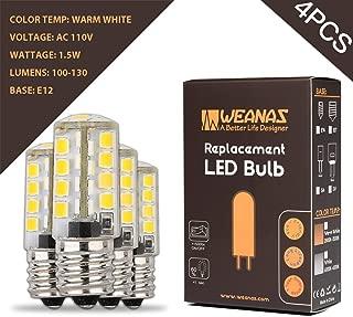 Weanas 4X E12 Base 35 LED Light Bulb Lamp 1.5 Watt AC 110V Warm White Undimmable Equivalent to 10W Halogen Track Bulb Replacement 360° Beam Angle(E12 1.5W AC110V)