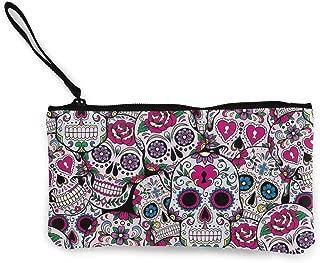 MODREACH Unisex Canvas Wristlet Wallet Clutch Purse Coin Pouch Pencil Bag Cosmetic Bag Rose Flowers Sugar Skull Pattern