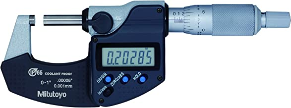 """Mitutoyo 293-340-30 Digital Micrometer, Inch/Metric, Ratchet Thimble, 0-1"""" (0-25mm) Range, 0.00005"""" (0.001mm) Resolution, +/-0.00005"""" Accuracy, Meets IP65 Specifications"""