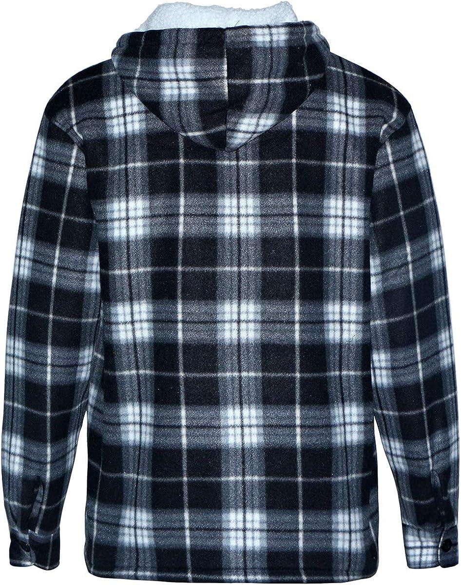 Heavy Thick Flannel Plaid Jacket Sherpa Fleece Lined Hoodies for Men Zip Up Winter Warm Coat Buffalo Zipper Sweatshirt