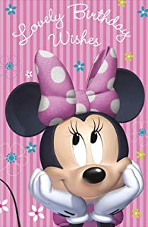 Lovely Birthday Wish Disney Minnie Mouse Girl Pink Open Greeting Card