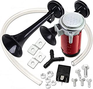 Zone Tech 12V Dual Trumpet Air Horn Premium Quality Classic Black Super Loud Powerful Train Sound Shiny Dual Car Van Truck Boat Air Horn