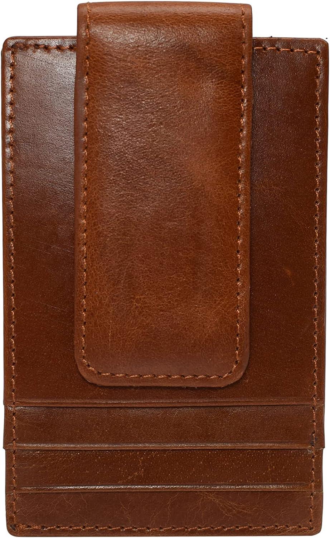 RFID Blocking Front Pocket Money Clip Vintage Leather Strong Magnetic Slim Wallet