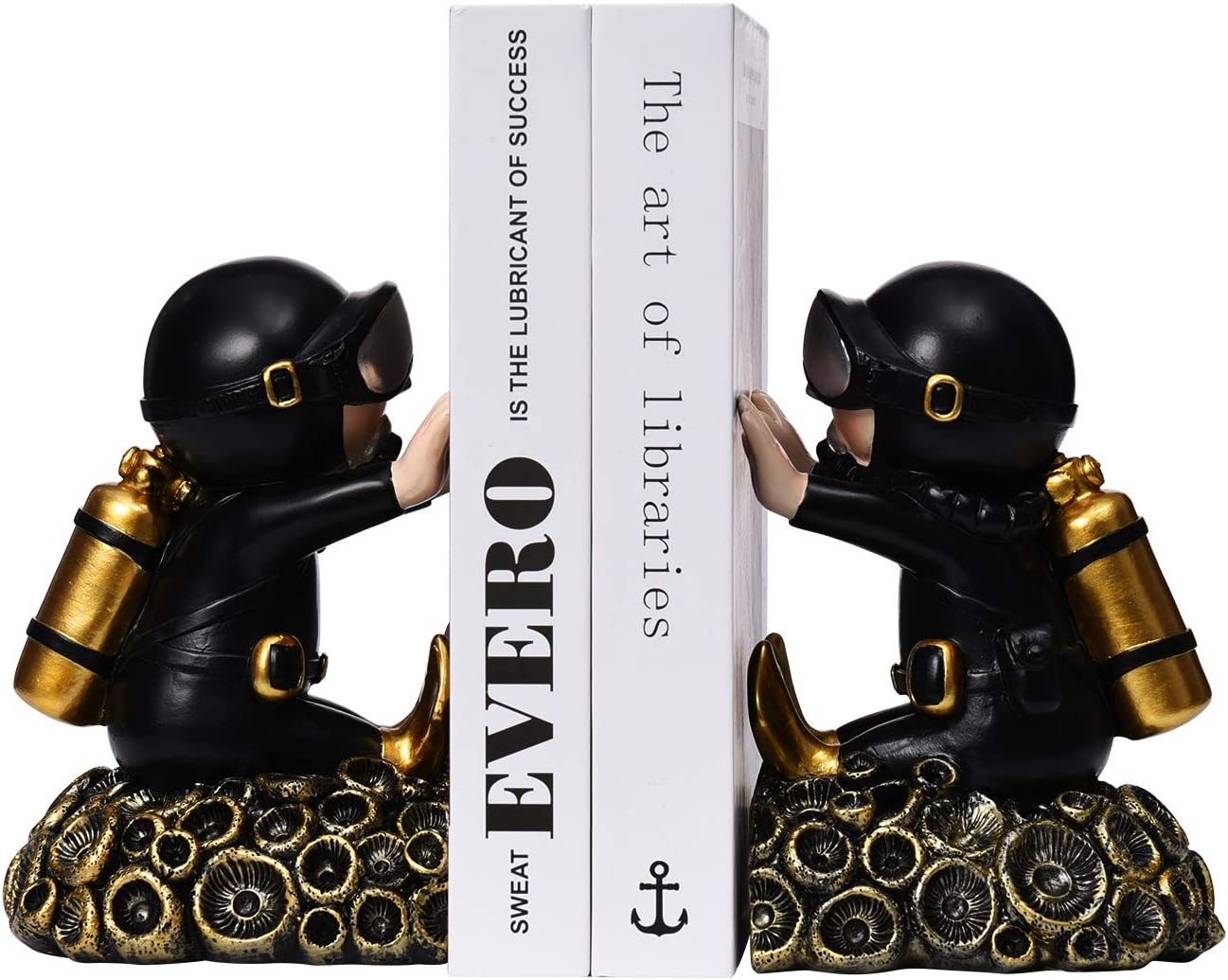 Decorative Diver Theme Bookend Black+Gold, Diver C Resin Decorative Bookshelf Bookends 1 Pair Nonskid Bookends Art Bookend