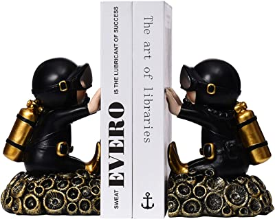 1 Pair Nonskid Bookends Art Bookend Black+Gold, Diver C Decorative Diver Theme Bookend Resin Decorative Bookshelf Bookends