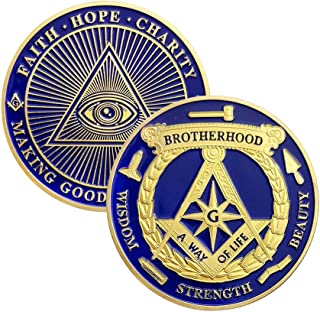 Masonic Coin Accessories Blue Lodge Commemorative Freemason Brotherhood Gifts for Collection