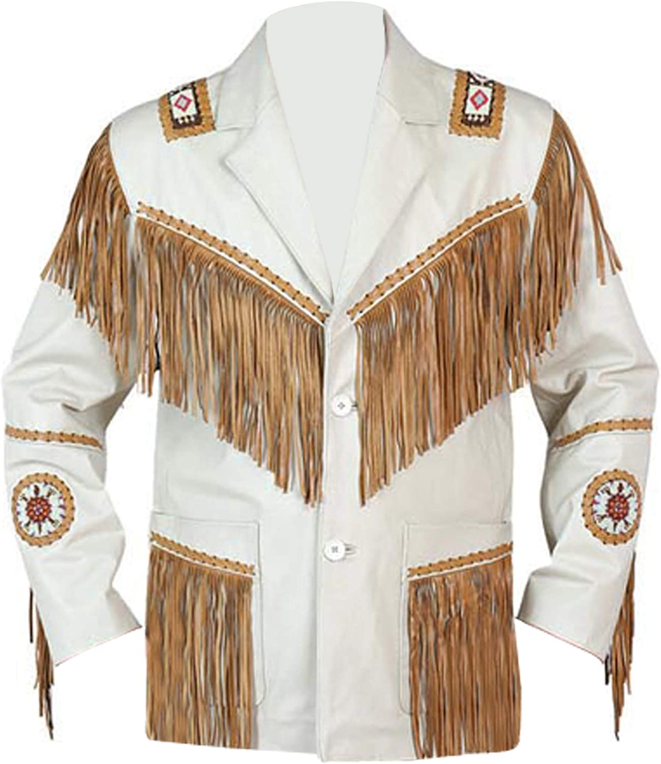 Men's Western Cowhide Cowboy Leather Jacket Fringe And Beaded & Botton Close Native American Coat Style