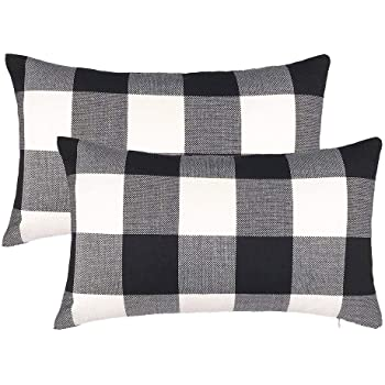 4TH Emotion Set of 2 Farmhouse Buffalo Check Plaid Throw Pillow Covers Cushion Case Cotton Linen for Fall Home Decor Black and White, 12 x 20 Inches