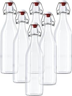 Kurtzy Botellas de Vidrio Herméticas Con Tapón - 6 Pack (960ml) Preservar Líquidos Botellas - Transparentes Botellas para Bebidas Hechas en Casa, Cerveza, Vino, Condimentos y Más - Cierres Herméticos
