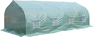 Outsunny 20' x 10' x 7' Deluxe High Tunnel Walk-in Garden Greenhouse Kit - Green