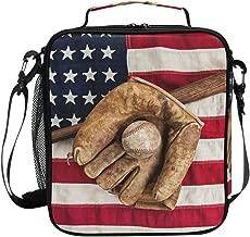 JOYPRINT Lunch Box Bag Vintage Ball Baseball American Flag Lunchbox Insulated Thermal Cooler Ice Adjustable Shoulder Strap for Women Men Boys Girls
