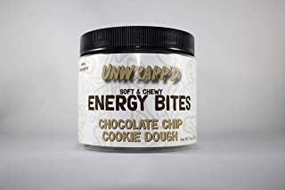 UNWRAPP'D Energy Bites, Chocolate Chip Cookie Dough (10oz, 3 Pack) - Natural Plant Based Protein Snack, Vegan, Gluten Free, Zero Added Sugar, Low Calorie, Paleo - Sustainably Packaged