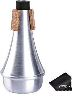Sordina de Trompeta de Práctica Recta Silenciador de Aluminio con Paño de Limpieza, Plateado