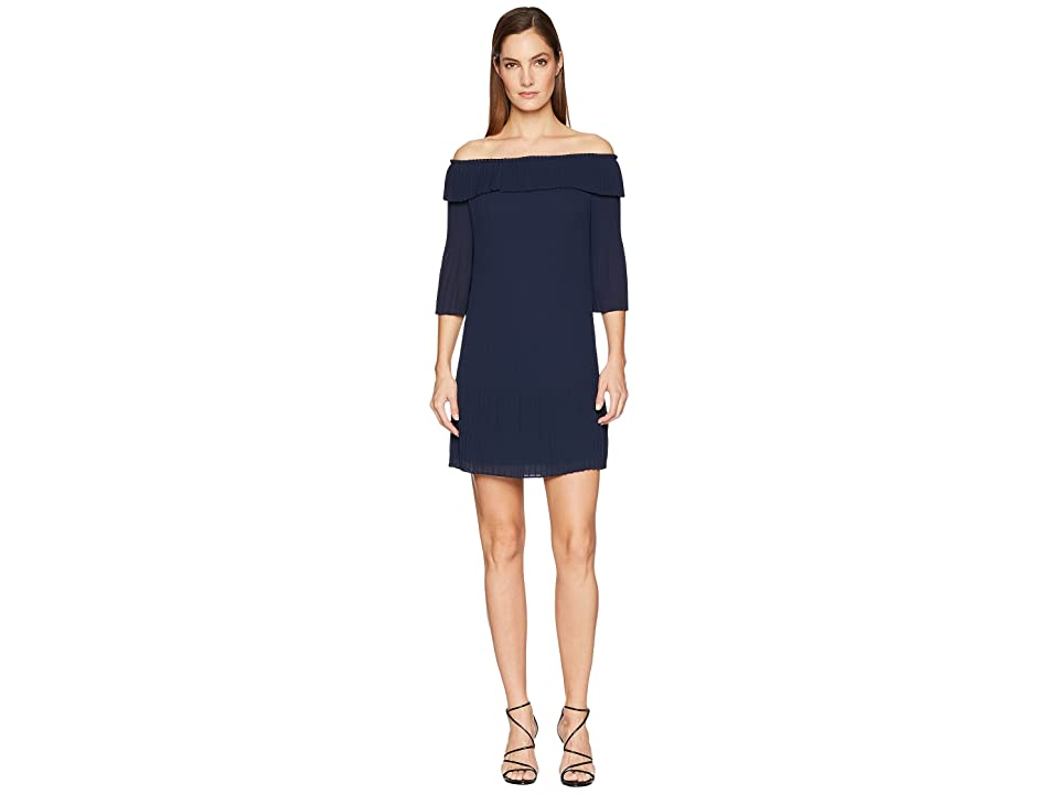 Ted Baker Franeis Pleated Bardot Dress (Navy) Women