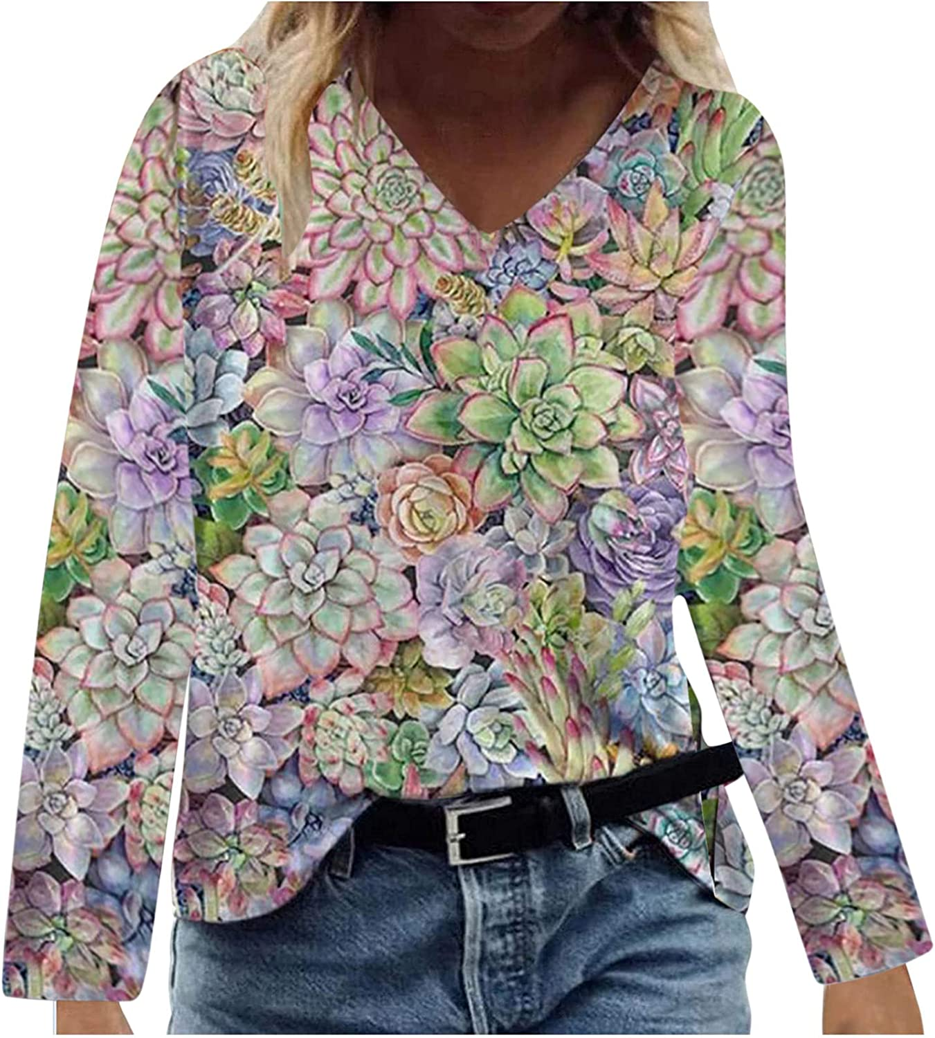 Floral Nature Lovers for Womens Long Sleeve T-Shirt Cute Butterfly Print V-Neck Pullover Tops Casual Flower Tees