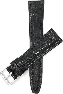 10mm - 20mm (Disponibile en Extra largo), Correa reloj de cuero auténtico, Azul, acabado semibrillante, disponible en negr...