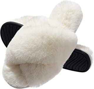 Slippers for Women, Cross Band Plush Fleece Anti-Skid Memory Foam Slip On Fuzzy Slides for Indoor Outdoor