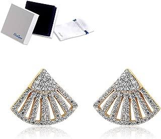 Ginkgo Leaf Earrings 18K Gold Plated Fan Shaped Stud Earrings Pierced Women Teen Girls Earrings Cubic Zirconia