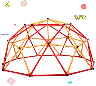 TOBBI Outdoor Dome Climber 6.6' Wide x 3.75' High, Playground Climbing Frame Backyard Gym in Red & Yellow