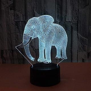 Lampe de Table Lampe de Table éléphant LED dégradé coloré 3D Lampe de Table en Trois Dimensions Tactile télécommande USB v...