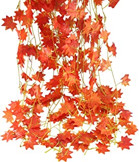 Nahuaa 90 Feet Artificial Silk Fall Maple Leaf Garland Autumn Hanging Vine Wholesale Home Party Ceremony Wedding Table Centerpiece Decoration Set of 12