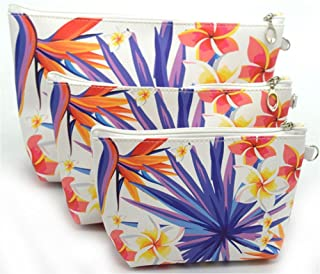 XICHEN 3 PCS cosmetic bag waterproof cosmetic bag large capacity pu leather, Bathroom, Storage (3 Sizes) (Bird of paradise flower)