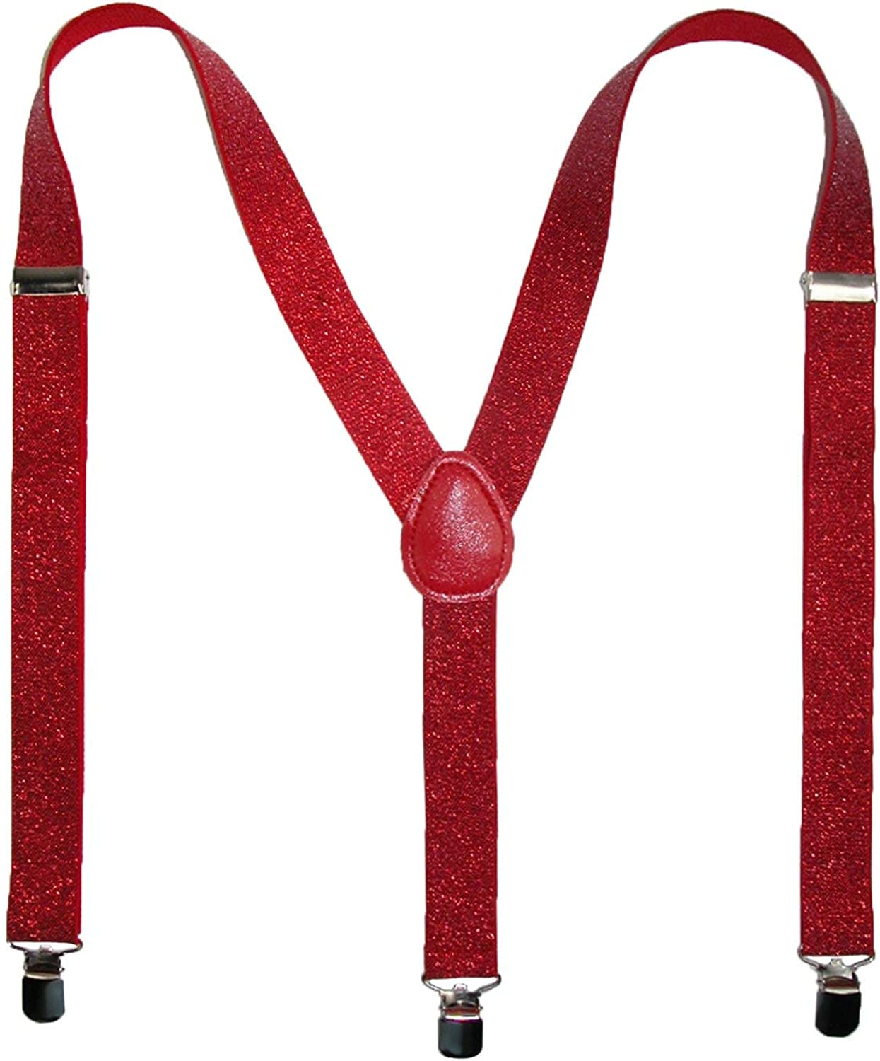 Outer Rebel Red Sparkle Glitter Suspenders