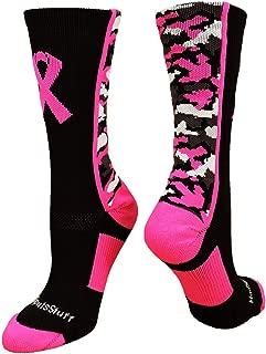 MadSportsStuff Pink Ribbon Breast Cancer Awareness Camo Athletic Crew Socks (Multiple Colors)