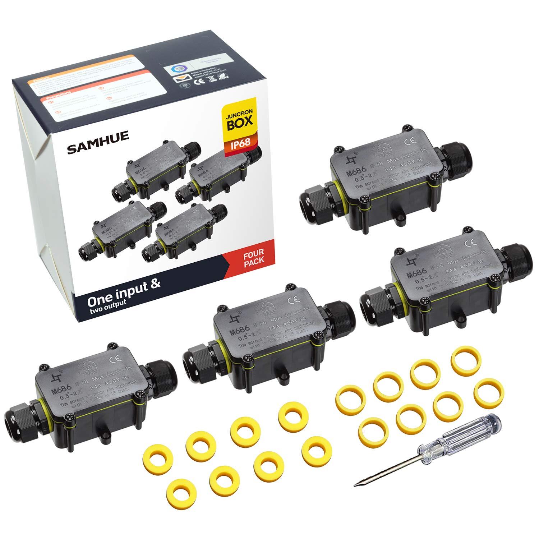 Cajas de Conexión Caja de Empalme Exterior Conectores para el Agua 2 Vías Conector SAMHUE Ip68 para 4 mm-12 mm Diámetros de Cable Paquete de 4: Amazon.es: Bricolaje y herramientas