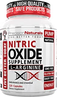 Nitric Oxide Supplement with L-Arginine – Improved Muscle Growth, Vascularity, Energy, Endurance and Recovery, Powerful Nitric Booster Increase Blood Flow 120 Capsules